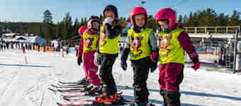 Barn på led i slalomutrustning och skidskolevästar